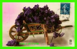 FLOWERS, FLEURS - BROUETTE DE FLEURS - CIRCULÉE EN 1924 - - Fleurs