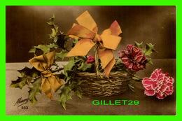 FLOWERS, FLEURS - PANIER DE FLEURS AVEC DES BOUQUES ORANGE - MÉSANGE - ÉCRITE EN 1918 - - Fleurs
