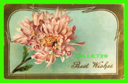 FLOWERS, FLEURS - UNE ROSE - EMBOSSÉE - ÉCRITE EN 1910 - - Fleurs