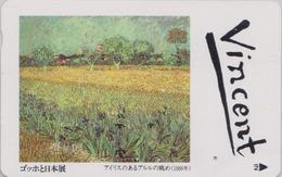 TC Japon / 110-011 - PEINTURE FRANCE - VAN GOGH - Paysage Champ Fleur Iris - Japan Painting Phonecard - 1822 - Schilderijen