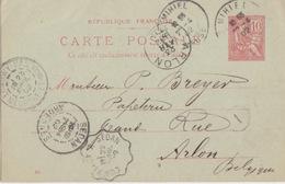 C Entier 10c Rouge Mouchon (204) De StMihiel (Daguin 301 St Mihiel Meuse) Le 22/4/02 Pour Arlon + Convoyeur - Postwaardestukken