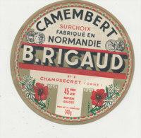 V 10 -/  ETIQUETTE DE FROMAGE  CAMEMBERT  B. RICAUD  CHAMPSECRET    (ORNE) - Fromage