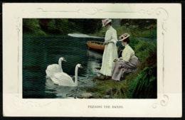 Ref 1278 - Early Postcard - Two Edwardian Women Feeding The Swans - Birds Animal Theme - Oiseaux