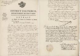 Altkirch 1791 Prince Évêque De Bale Porrentruy Abbaye De Lucelle Héraldiques - Historical Documents