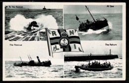 Ref 1278 - R.N.L.I. Real Photo Postcard - Rescue At Sea - Lifeboat - Ships