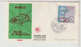 MONACO - FDC - 1960 - RALLYE DE MONTE CARLO - FDC
