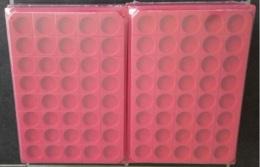 LOT 50 BOX - COLLECTEURS - PLATEAUX VELOURS POUR PIECES DE MONNAIE - 40 CASES RONDES - AVEC COUVERCLE - Matériel