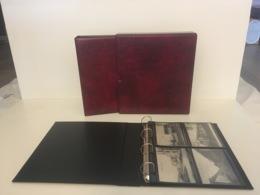 CLASSEUR ALBUM BORDEAUX FORMAT A4 + BOX + 25 FEUILLES NOIRES POUR RANGER 200 CPA - Matériel