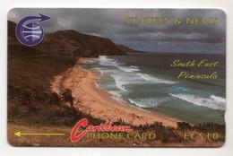 SAINT KITTS & NEVIS REF MV CARDS STK-3Ba Année 1990 10$ 3CSK Erreur South East Peninsule 1 - St. Kitts En Nevis