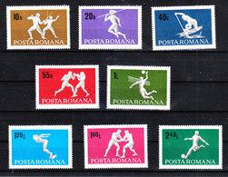 Romania - 1969. Lotta, Scherma, Volley, Cajak, Boxe, Calcio, Tuffi.Fight, Fencing, Soccer, Diving.MNH - Lotta
