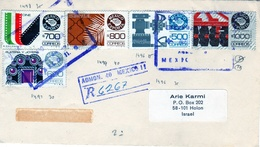 Mexico-Israel 1989 Registered Cover Export: Cinema,Petrol,Jewelery,++ - Factories & Industries