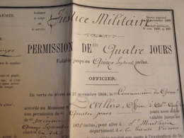 Permission De Quatre Jours, 1878, Limoges, Officier - Documents