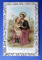 IMAGE.RELIGIEUSE...CANIVET.....RELIEF...SATIN     LE PATRIARCHE SAINT JOSEPH - Devotion Images