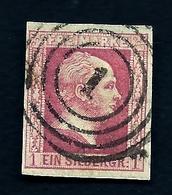 LETI- ETATS ALLEMAGNE- PRUSSE- TIMBRE N°6 ROSE 1 S- 1857 - FOND UNI- OBLITÉRÉ- 2 SCANS - Prusse