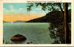 New York Cooperstown Otsego Lake From Council Rock 1956 Curteich - NY - New York