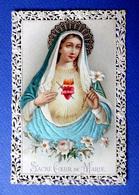 IMAGE.RELIGIEUSE...CANIVET.....RELIEF...SATIN    ....SACRE CŒUR DE MARIE - Devotion Images