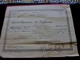 1931 DIPLÔME BREVET ELEMENTAIRE D'INFIRMIER MARINE NATIONALE EQUIPEMENT LA FLOTTE Ste Anne-Militaria Document Militaire - Dokumente