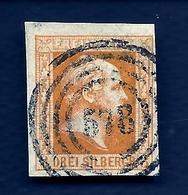 LETI- ETATS ALLEMAGNE- PRUSSE- TIMBRE N° 8 OCRE 3 S- 1857 - FOND UNI- OBLITÉRÉ- 2 SCAN - Prusse