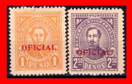 PARAGUAY (AMERICA DEL SUR) 2 SELLOS AÑO 1927-38 PEDRO JUAN CABALLERO Y FULGENCIO YEGROS OFICIAL - Paraguay