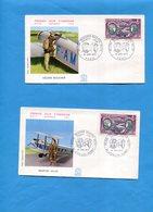 Les 2 Enveloppes  F D C  -PA N° 47- Aviatrice-h Boucher+m Hilsz-10 Juin 72 Paris+levallois Perret - 1970-1979
