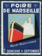 SHIP France Foire De Marseille Poster Vignette Liner Steamship Navire Bateau Paquebot Dampfer Dampfschiff Reklamemarke - Ships