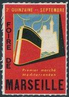 SHIP France Foire De Marseille Poster Vignette Liner Steamship Navire Bateau Paquebot Dampfer Dampfschiff Reklamemarke - Bateaux