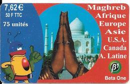 CARTE-PREPAYEE-7,62€-50F- BETA ONE-MAIN INDIA- 31/12/2001-- TBE- - Autres Prépayées