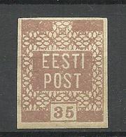 ESTLAND ESTONIA 1918/1919 Michel 3  YELLOW-BROWN Gelblich Braun Variety * - Estland