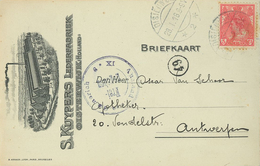 Kuipers Lederfabrik 28.1.1918 Oisterwijk Zensur Auslandsstelle Emmerich Karte Nach Antwerpen - Periode 1891-1948 (Wilhelmina)