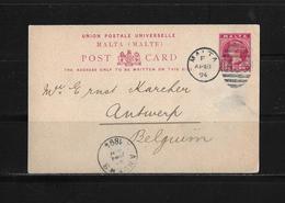 1894 MALTA → GA Postkarte Von Malta Nach Antwerpen Belgien - Malte