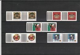 Canada - Christmas Stampa - Michel # 1109 D+1202d+1255d+1334d+1393d - PAIRS - MNH (**) - Booklets