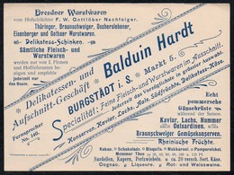 B9449 - TOP Burgstädt - Balduin Hardt - Wurstwaren Wein Liköre Schnaps- Rechnung - Lebensmittel