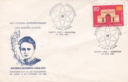 MARIA SKLODOWSKA CURIE 1934, INAGURACION MONUMENTO EN BUENOS AIRES. SPC OBLITERE 1969 BUENOS AIRES-RARISIME EN.. - BLEUP - Donne Celebri