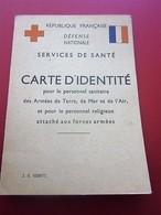 CARTE IDENTITÉ DÉFENSE NATIONALE SERVICE DE SANTE-ARMÉE-ANCIEN COMBATTANT VICTIME DE GUERRE-Militaria Document Militaire - Dokumente