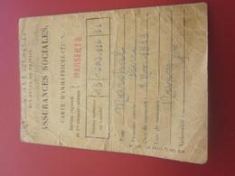CARTE ASSURANCE SOCIALES MINISTÈRE TRAVAIL 1947 -ANCIEN COMBATTANT VICTIME DE GUERRE-Militaria Document Militaire - Documents