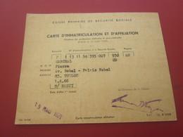 CARTE PRIMAIRE SÉCURITÉ SOCIALE- AFFILIATION ANCIEN COMBATTANT VICTIME DE GUERRE-Militaria Document Militaire - Documents