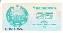 OUZBEKISTAN 25 SUM 1992 UNC P 65 - Oezbekistan