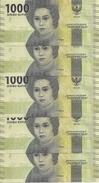 INDONESIE 1000 RUPIAH 2016 UNC P 154 ( 5 Billets ) - Indonésie