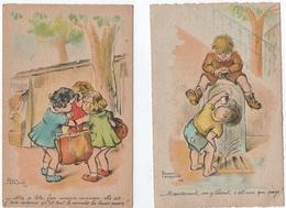 """ILLUSTRATEUR LEVASSEUR. 2 CARTES. """" MA P'TITE, FAIS COMME MAMAN"""" """" MAINTENANT, VAS-Y PIERROT""""  1945. - Levasseur, Roger"""
