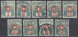 HELVETIA - 1910 - Segnatasse - Serie Completa Formata Da 9 Valori Usati: Yvert 42/50. - Segnatasse