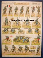 SALE! Militaria: Authentieke Tekenplaat Franse Jagers Te Fiets WOI Chasseurs Cycliste - 1914-18