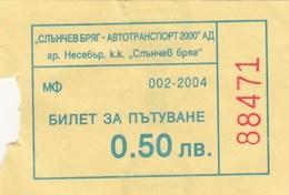 Bus Ticket 2004. Nesebar - Sunny Beach Bulgaria - Bus