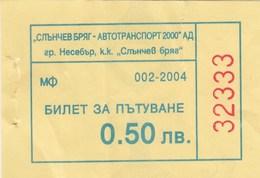 Bus Ticket 2004. Nesebar - Sunny Beach Bulgaria - Europa
