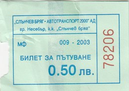 Bus Ticket 2003. Nesebar - Sunny Beach Bulgaria - Bus