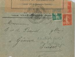 Villeurbanne Rhone Geöffnet Militärische Zensur Ankunftsstempel Geneve - France