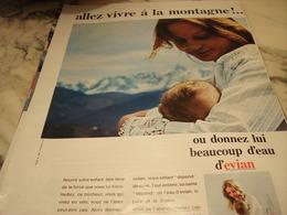 ANCIENNE PUBLICITE ALLEZ VIVRE A LA MONTAGNE EVIAN 1969 - Publicité
