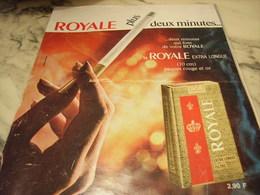 ANCIENNE PUBLICITE PLUS 2 MINUTES  CIGARETTE ROYAL  1969 - Tabac (objets Liés)