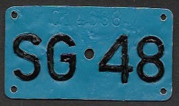 Velonummer St. Gallen SG 48 - Plaques D'immatriculation
