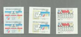 DOMINICAN REP - 1980- UPU SET OF 3 IN IMPERFORATE PAIRS MNH - Dominicaine (République)
