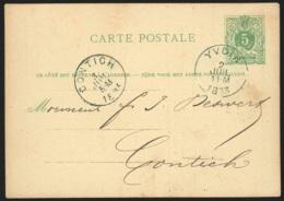 Ep 5c Vert Repiquage Carrière D'Yvoir Càd YVOIR/1883 Pour Contich - Interi Postali